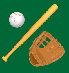 baseball equipment colorful flat set on vector image vector image
