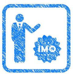 Businessman show imo token framed grunge icon vector