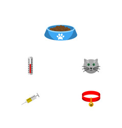 flat icon animal set of vaccine kitty cat eatin vector image