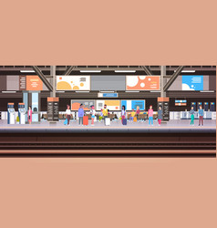 train station with people waiting on platform vector image