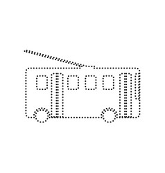 trolleybus sign black dotted icon on vector image
