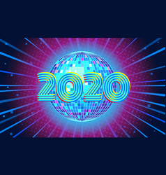 2020 new year blue disco ball background vector image