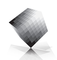 3D cube pixelate style vector image