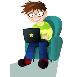 A boy with a laptop vector