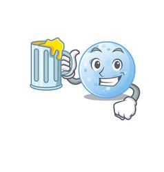 A cartoon concept blue moon rise up glass beer vector