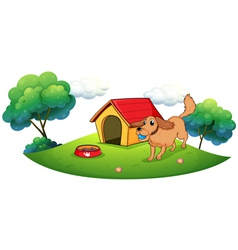 A dog playing with blue ball near doghouse vector