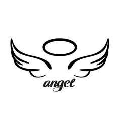 angel wings and halo icon sketch religious vector image