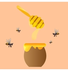 Apiary symbols Bee honey honeycomb vector image