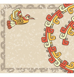 aztec style bird and pattern on dirty background vector image