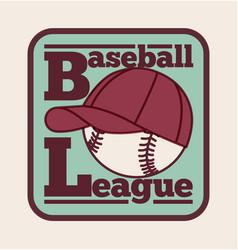 baseball league label badge icon vector image