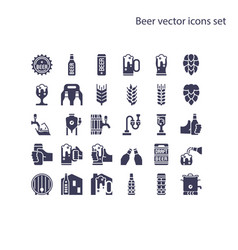 Basic element beer icons set vector