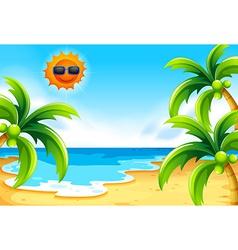 Beach under the sun vector