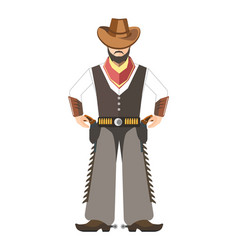 Bearded cowboy with hat holds for two pistols vector
