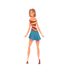 Beautiful smiling girl in casual clothes cartoon vector