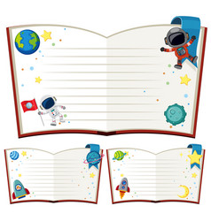 blank books with astronaut and rockets vector image