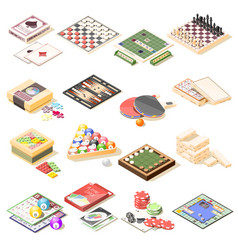 Board games isometric icons set vector