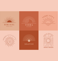Bohemian linear logos icons and symbols sun vector