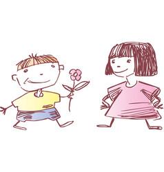 boy anf girl vector image