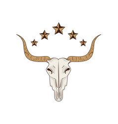 Bull skull wild west icon vector