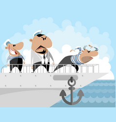 Captain and two sailors vector