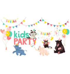 Cartoon animals party poster vector