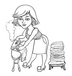 cartoon image of woman ironing vector image