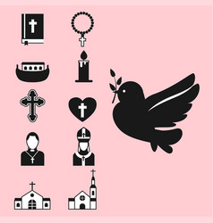 christianity religion flat icons vector image