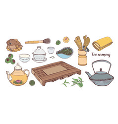 collection of tools for traditional asian tea vector image