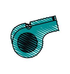 color crayon stripe cartoon sport whistle vector image