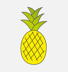 Colorful drawn ripe yellow pineapple with green vector