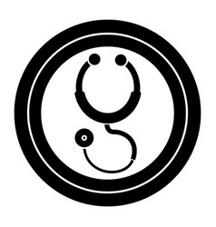 contour sticker stethoscope medical tool revision vector image