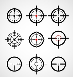 Crosshair gun sight target icons set vector