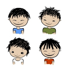 Cute boy smiling sketch for your design vector image