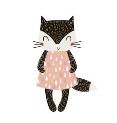 Cute cartoon cat girl in scandinavian vector