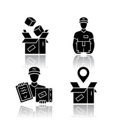 Delivery drop shadow black glyph icons set parcel vector