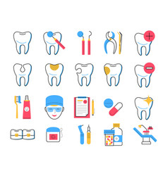 dentistry icons set trendy linear style vector image