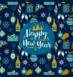 design element with new year and christmas vector image
