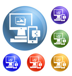 Digital computer device icons set vector