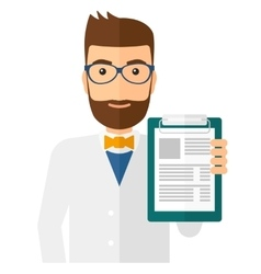 Doctor holding medical notepad vector