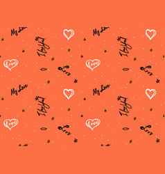 Doodle heart and love lettering seamless vector