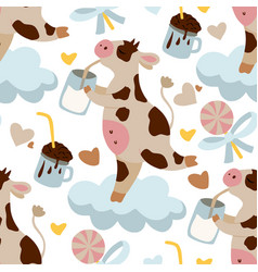 dreaming cow seamless pattern vector image
