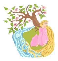 Dreamy girl with long hair on river bank vector