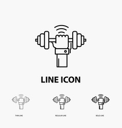 Dumbbell gain lifting power sport icon in thin vector