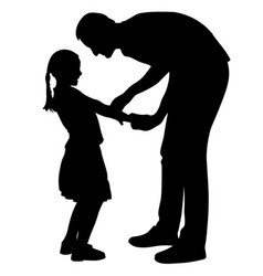 Father is talking with daughter silhouette vector