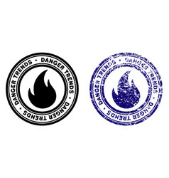 Fire danger trends stamp with grunge texture vector