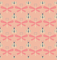 Firefly and dragonfly seamless pattern vector