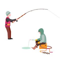 Fishing fishermen catches fish fisher threw vector