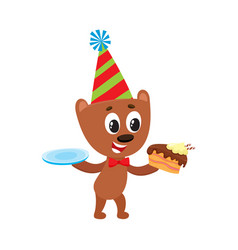 flat bear character eating piece of cake vector image