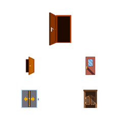 Flat icon approach set approach door lobby vector