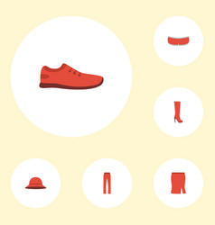 flat icons pants gumshoes apparel and other vector image